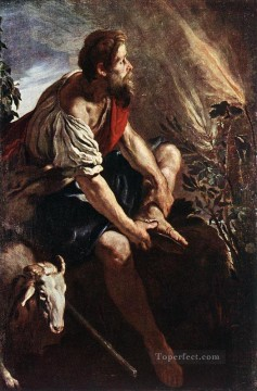 Domenico Fetti Painting - Moses Before The Burning Bush Baroque figures Domenico Fetti