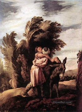 Arab Canvas - Parable Of The Good Samaritan Baroque figures Domenico Fetti