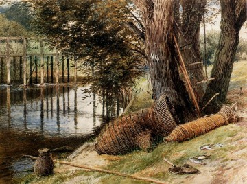 Myles Birket Foster RWS Painting - Eel Pots On The banks Of A River scenery Victorian Myles Birket Foster