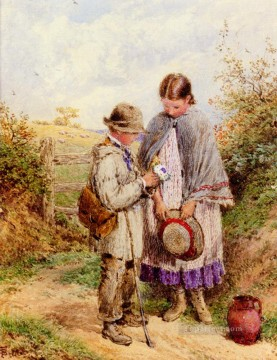 victorian victoria Painting - The Posy Victorian Myles Birket Foster