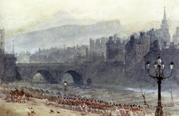 Myles Birket Foster RWS Painting - A View Of Old Town And Waverley Bridge From Princes Street Edinburgh scenery Victorian Myles Birket Foster