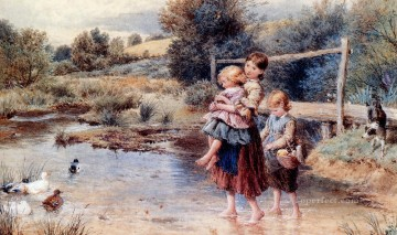 stream Painting - Children Paddling In A Stream Victorian Myles Birket Foster