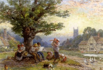 victorian victoria Painting - Fugures And Children Beneath A Tree In A Village Victorian Myles Birket Foster