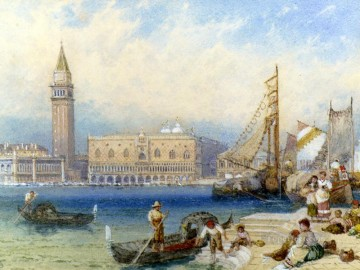 victorian victoria Painting - St Marks and The Ducal Palace From San Giorgio Maggiore Victorian Myles Birket Foster