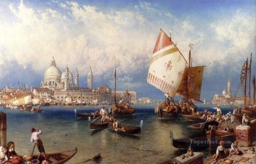 victorian victoria Painting - A market Day On The Giudecca Venice Victorian Myles Birket Foster