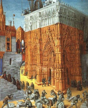 building Painting - The Building Of A Cathedral Jean Fouquet
