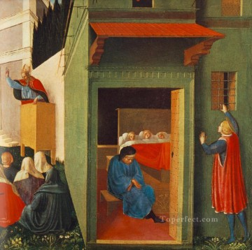 Girls Canvas - Story Of St Nicholas Giving Dowry To Three Poor Girls Renaissance Fra Angelico
