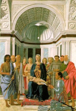 italian Painting - Madonna And Child With Saints Italian Renaissance humanism Piero della Francesca