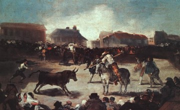 cattle bull cow Painting - Village Bullfight Romantic modern Francisco Goya