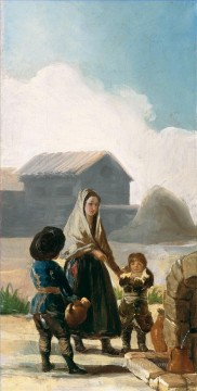 A woman and two children by a fountain Francisco de Goya Oil Paintings
