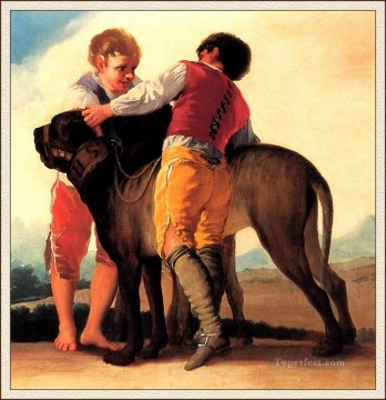 Goya Oil Painting - Boys With Mastiff Francisco de Goya