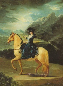 equestrian portrait of maria luisa of parma Painting - Maria Teresa of Vallabriga on Horseback portrait Francisco Goya