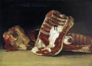 Still life of Sheep Ribs and Head The Butcher conter Francisco de Goya Oil Paintings