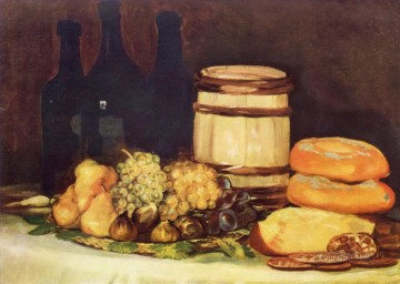 Francisco Art Painting - Still life with fruit bottles breads Francisco de Goya