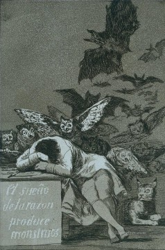 The sleep of reason brings forth monsters Romantic modern Francisco Goya Oil Paintings