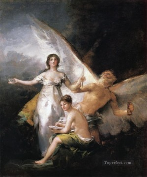 Goya Oil Painting - Truth Rescued by Time Francisco de Goya