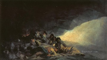 Goya Oil Painting - Vagabonds Resting in a Cave Francisco de Goya
