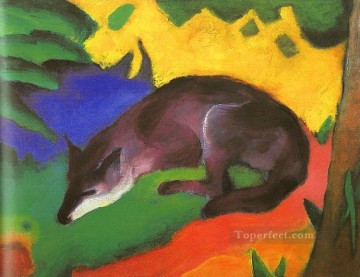 Franz Marc Painting - Blue Black Fox Franz Marc