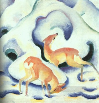 Franz Marc Painting - Deer in the Snow Franz Marc