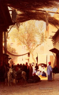 Charles Theodore Frere Painting - A Market Place Cairo Arabian Orientalist Charles Theodore Frere