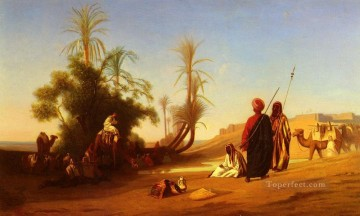 Charles Theodore Frere Painting - Halte A LOasis Arabian Orientalist Charles Theodore Frere