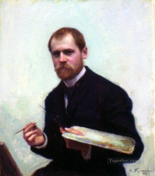 self Painting - Self Portrait Realism Emile Friant