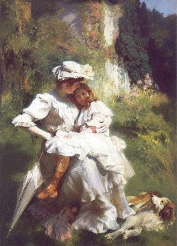 Emile Friant Painting - Tendresse Maternelle Realism Emile Friant