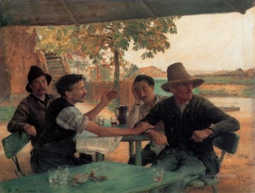 La Discussion politique Realism Emile Friant Oil Paintings