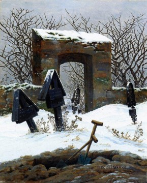 Graveyard Under Snow Romantic Caspar David Friedrich Oil Paintings