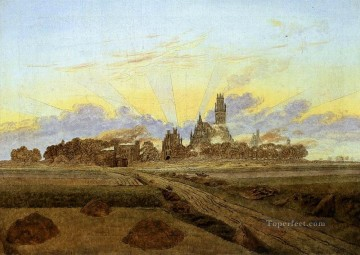 Neubrandenburg In Flames Romantic Caspar David Friedrich Oil Paintings