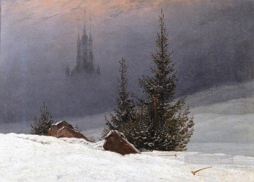 Church Art - Winter Landscape With Church Romantic Caspar David Friedrich
