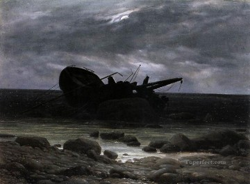 Boat Painting - Wreck In The Moonlight Romantic boat Caspar David Friedrich