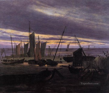 Boat Painting - Boats In The Harbour At Evening Romantic Caspar David Friedrich