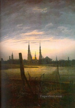 City at Moonrise Romantic Caspar David Friedrich Oil Paintings