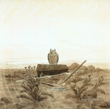 David Art Painting - Landscape With Grave Coffin And Owl Romantic Caspar David Friedrich
