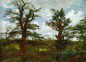 Tree Painting - Landscape with Oak Trees and a Hunter Romantic Caspar David Friedrich