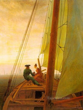 Boat Painting - On Board a Sailing Ship Romantic boat Caspar David Friedrich