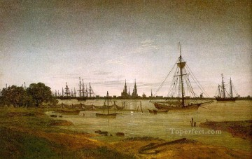 Port by Moonlight Romantic Caspar David Friedrich Oil Paintings
