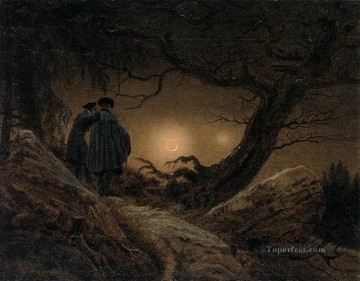 Two Men Contemplating The Moon Romantic Caspar David Friedrich Oil Paintings