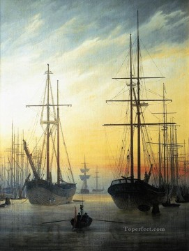 Boat Painting - View Of A Harbour Romantic boat Caspar David Friedrich