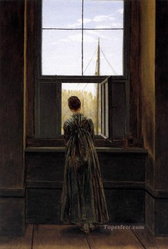 David Art Painting - Woman At A Window Romantic Caspar David Friedrich
