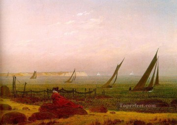 beach Art - Woman on the Beach of Rugen Romantic boat Caspar David Friedrich