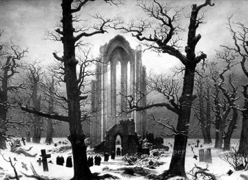 mona lisa Painting - Monastery Graveyard in the Snow CDF Romantic Caspar David Friedrich