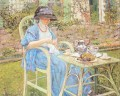 Breakfast in the Garden Impressionist women Frederick Carl Frieseke