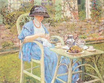 Carl Art Painting - Breakfast in the Garden Impressionist women Frederick Carl Frieseke