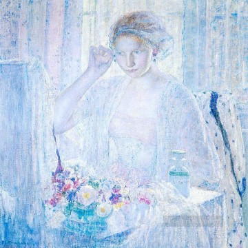 Girl with Earrings Impressionist women Frederick Carl Frieseke Oil Paintings