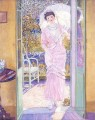 In the Doorway Good Morning Impressionist women Frederick Carl Frieseke
