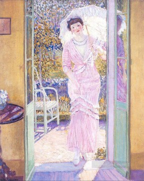 In the Doorway Good Morning Impressionist women Frederick Carl Frieseke Oil Paintings