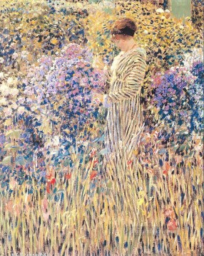Lady in a Garden Impressionist women Frederick Carl Frieseke Oil Paintings