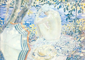 On the Bank Impressionist women Frederick Carl Frieseke Oil Paintings